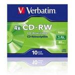Оптический диск CD-RW VERBATIM 700Мб 4x, 10шт. ...