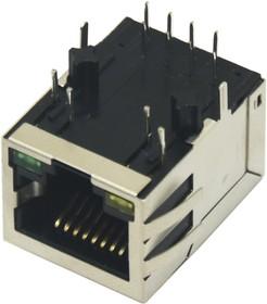 KLS12-TL002-1x1-G/G-1-03 (SK02-111015NL), Розетка 8P8C (RJ45) со светодиодами и трансформатором