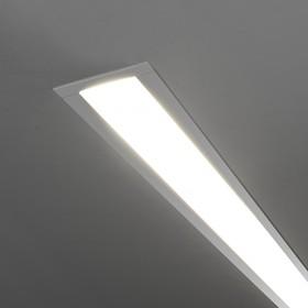 Фото 1/4 101-300-128 / Линейный светодиодный встраиваемый светильник 128см 25W 3000K матовое серебро