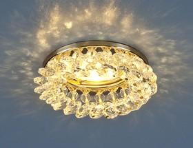 Фото 1/3 206 MR16 GD/CL / Светильник встраиваемый золото/прозрачный