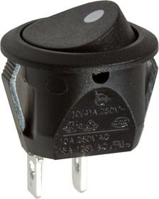 RC15BBAT-G, переключатель клавишный ON-OFF 250B 6A черный (аналог R13-112ABBAT-G)