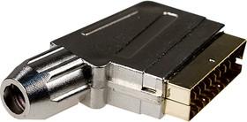 "1-343G, разъем SCART штекер пластик металлизированный ""позол."" на каб."