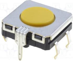 B3W-4105, Switch Tactile N.O. SPST Flat Round Button PC Pins 0.05A 24VDC 3000000Cycles 3.43N Thru-Hole Bag