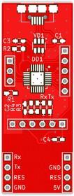 Фото 1/2 Печатная плата RDC1-USB-UART, Печатная плата с разводкой, FR4 18х48мм (1.5мм, 18мкм)