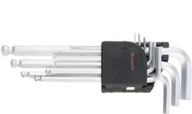 11233, Набор ключей имбусовых HEX, 1,5-10 мм, CrV, 9 шт., удлиненные, сатин., с шаром