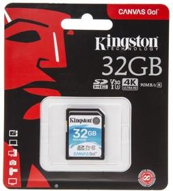 Карта памяти SDHC UHS-I KINGSTON Canvas Go 32 ГБ, 90 МБ/с, Class 10, SDG/32GB, 1 шт.