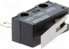 D2F01LD3, Switch Snap Action N.O./N.C. SPDT Hinge Lever 0.1A 30VDC 0.78N Screw Mount Solder
