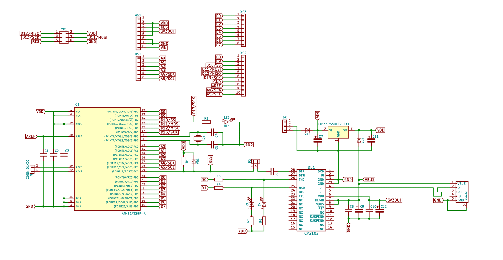 Ванилин, Arduino Uno, ATmega328P-AU, CP2102