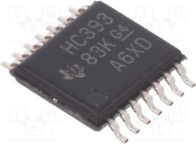 Фото 1/2 SN74HC393PW, Counter/Divider Dual 4-Bit Binary UP 14-Pin TSSOP Tube