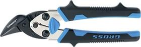"""78361, Ножницы по металлу""""PIRANHA"""" ,185мм,прямой и правый рез,сталь-СrM, двухкомпонентные рукоятки"""