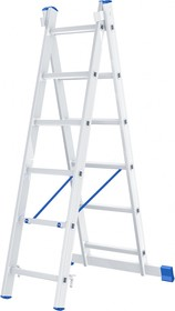97906, Лестница, 2 х 6 ступеней, алюминиевая, двухсекционная, Россия