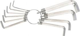 Фото 1/2 112685, Набор ключей имбусовых HEX, 1,5-10 мм, CrV, 10 шт., никелированный, на кольце