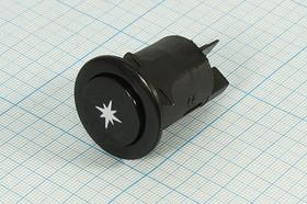 Кнопка поджига чёрного цвета 220В/16А ПКн\220\16\OFF-(ON)\d24\ чер\2T\SW2506\(поджиг)