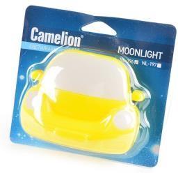 """Camelion NL-196 """"Машинка"""" желтая, ночник с выключателем , 4LED BL1, Светильник"""