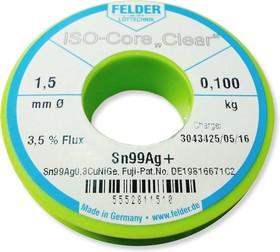 """Sn99Ag+ (Sn99Cu0,7Ag0.3NiGe) Тр ISO-Core """"Clear"""" (1.5мм), Припой олово-медь-серебро, катушка 100гр"""