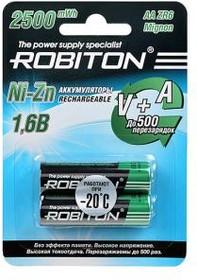 Фото 1/2 ROBITON 2500NZAA-2 Ni-Zn AA 2500мВтч, 1500мАч BL2, Аккумулятор