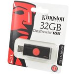 KINGSTON USB 3.1/3.0/2.0 32GB DataTraveler DT106 черный с ...
