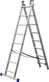 38821-08, Лестница ЗУБР универсальная, двухсекционная со стабилизатором, 8 ступеней