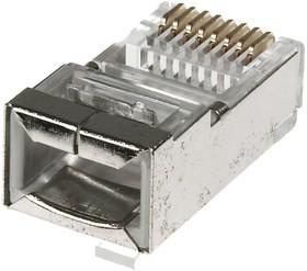 Фото 1/2 TP8P8C-S-STP (DS1123-14), Вилка сетевая RJ45, экранированная для многожильного провода