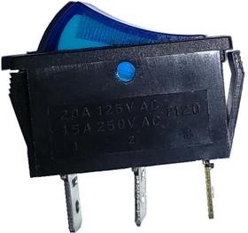 IRS-101-3C3 (синий), Переключатель с подсветкой ON-OFF (15A 250VAC) SPST 3P