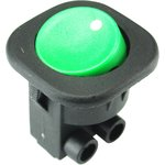 MRS-101-7C2-G, Переключатель ON-OFF (6A 250VAC) SPST 2P, зеленая клавиша