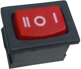 MRS-103A-C6-R, Переключатель ON-OFF-ON (6A 250VAC) SPDT 3P, красная клавиша