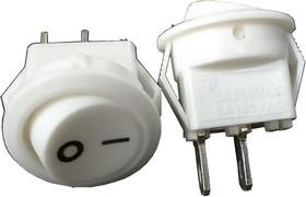 SMRS-101-2C3-W/W, Переключатель ON-OFF (3A 250VAC/6А 125VAC) SPST 2P, белая клавиша и белый корпус