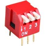 DS1040-03RT, DIP переключатель 3pin угловой красный