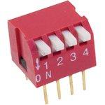 DS1040-04RT, DIP переключатель 4pin угловой красный