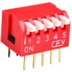DS1040-05RT, DIP переключатель 5pin угловой красный
