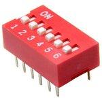 DS1040-06RN, DIP переключатель 6pin красный