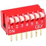 Фото 2/2 DS1040-07RT, DIP переключатель 7pin угловой красный