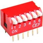 DS1040-06RT, DIP переключатель 6pin угловой красный