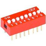 DS1040-08RN, DIP переключатель 8pin красный