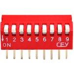 DS1040-09RT, DIP переключатель 9pin угловой красный