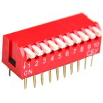 DS1040-10RT, DIP переключатель 10pin угловой красный