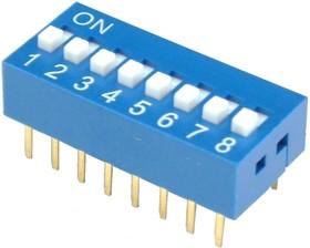 Фото 1/3 DS-08BBU-G, DIP переключатель 8 поз.(аналог SWD 1-8 ВДМ 1-8)