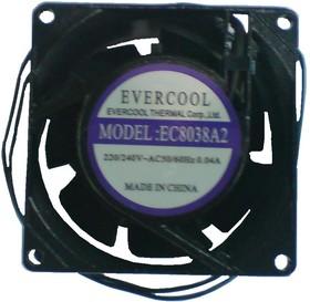 EC8038A2HSL, Вентилятор 220В, 80х80х38мм , подш. скольжения, 2300 об/мин