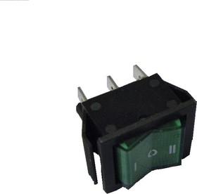 Фото 1/2 IRS-203-1B6-G, Переключатель с подсветкой ON-OFF-ON (15A 250VAC) 6P, зеленая клавиша