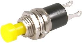 PBS-10B yellow, Кнопка без фиксации OFF-(ON) (1A 250VAC), желтая