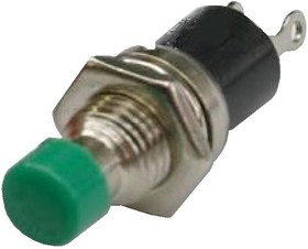 PBS-10B-2 green, Кнопка без фиксации OFF-(ON) (1A 250VAC), зеленая