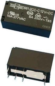881-(2P)-2CH-F-S 24VDC (507N-2CH-F-S 24VDC) (TRI-24VDC-SB-2CM), Реле 2пер. 24V/8A, 250VAC