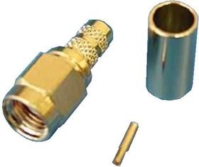 Фото 1/2 RP-SMA-C58JG (R901-9884-02RFX), Коннектор (м) на RG-58, позолоченный, обжим
