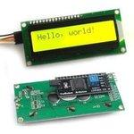 SPI/I2C 1602 LCD yellow, ЖКИ-дисплей 16 х 2 с последовательным интерфейсом для ...