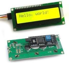 SPI/I2C 1602 LCD yellow, ЖКИ-дисплей 16 х 2 с последовательным интерфейсом для Arduino проектов (желтая подсветка)