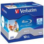 Оптический диск BD-R VERBATIM 25Гб 6x, 10шт., jewel case ...