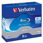 Оптический диск BD-R VERBATIM 25Гб 6x, 5шт., jewel case ...