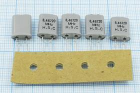 Фото 1/4 кварцевый резонатор 8.4672МГц в корпусе HC49U с изолированной крышкой в ленте для автоматов, нагрузка 22пФ; 8467,2 \HC49U-LWF\22\ 50\\\1Г +